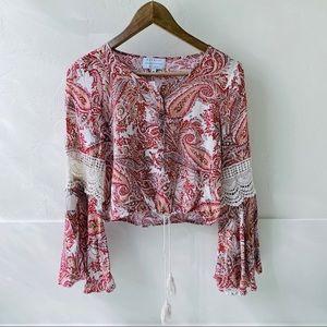 Kendall + Kylie crop peasant boho red blouse M